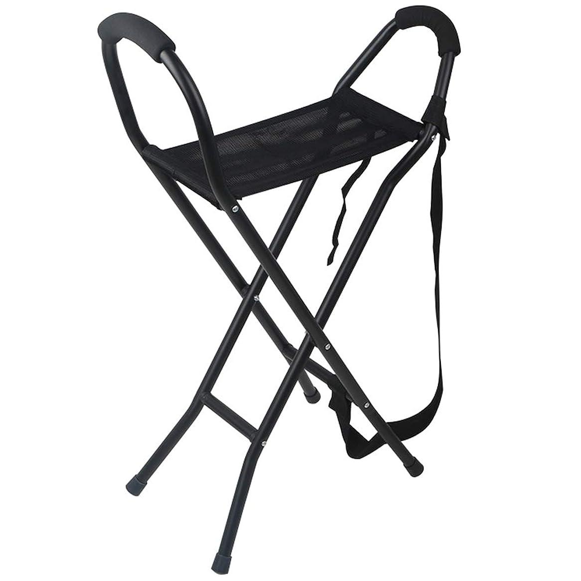 空いている雑草荷物折りたたみ杖椅子、超軽量のポータブルアルミ合金屋外滑り止め高齢者ウォーキングフレーム、身体の不自由な人運動障害のある人に適して