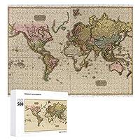 INOV 世界地図(1812年) ジグソーパズル 木製パズル 500ピース キッズ 学習 認知 玩具 大人 ブレインティー 知育 puzzle (38 x 52 cm)