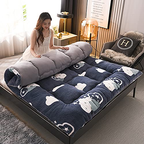 Colchón de lana de cordero, tapete de futón de tatami de dibujos animados, colchón de futón cálido, almohadilla de dormir acolchada para acampar, para niños, niñas, dormitorio para niños,A,King