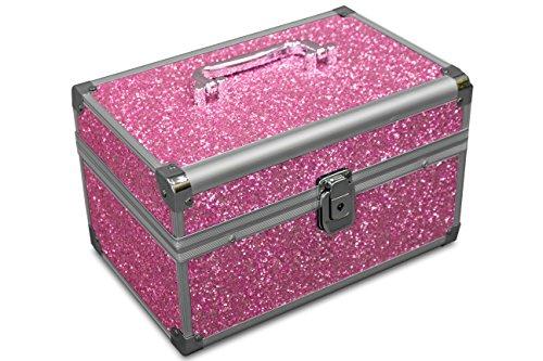 MARELIDA Schmuck-Kästchen in Pink | Glitzer-Optik | Premium Schmink-Beauty-Koffer - klappbaren Fächer | Edel in Form & Design | Ideal als...