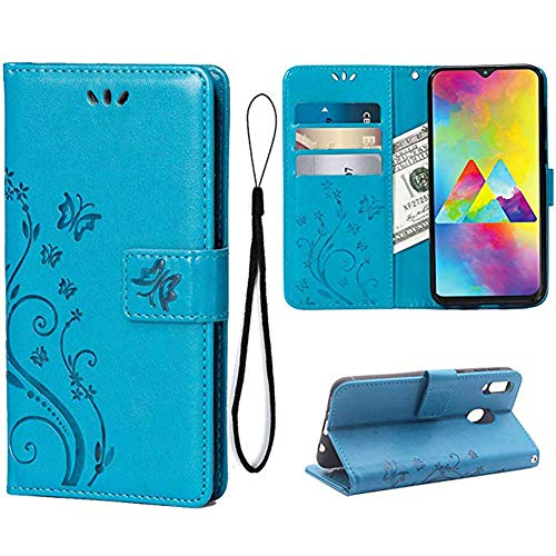 Teebo Wallet Case for Samsung Galaxy M30/A40S Card Holder Embossed Butterfly Flower PU Leather Magnetic Flip Cover for Samsung Galaxy A40S (Blue)