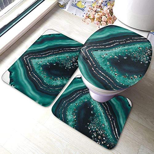 Juego de alfombras de baño antideslizantes de 3 piezas de ágata verde azulado, almohadillas antideslizantes para sala de estar, alfombrilla de baño + tapa de inodoro