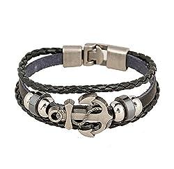 AIUIN,1 x Retro-Armband, Motiv: Anker, Armband aus geflochtenem Leder und einem Metallanker, der in das Leder eingearbeitet ist, für Herren
