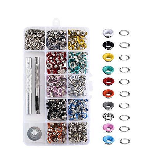 Pulluo 300 Ösen Set Ösenzange Metallösen 5mm(3/16 Zoll) Grommet Werkzeug Kit mit Locheisen Planenösen für Schuhe Leder Stoff Papier Vorhang 10 Farben (5mm)