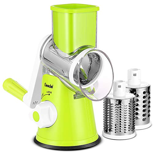 Rotary Cheese Grater, Kitchen Mandoline Vegetable Slicer with 3 Interchangeable Blades