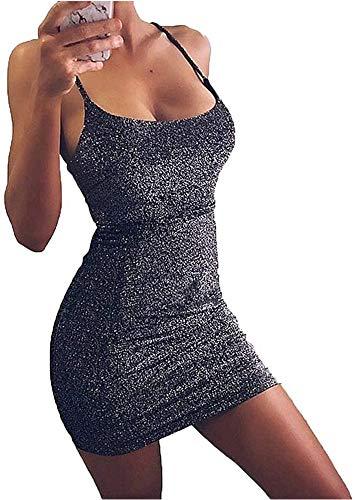 VANCOL Women's Sexy Glitter Spagetti Straps Lace Up Back Bandage Bodycon Mini Club Party Dress (S, Black)