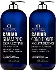 Botanic Hearth Caviar Shampoo and Conditioner Set - Sulfate Free, Shampoo Enriched with Keratin & Conditioner with Silk Protein - for Men and Women - Safe for Color Treated Hair - 16 fl oz each