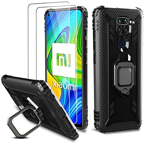 Milomdoi [Funda y 2 Unidades] Carcasa para Xiaomi Redmi Note 9 Funda con Protectores Pantalla Cristal Templado HD, Carcasa con 360 Grados Anillo iman Soporte y Silicona TPU Anti Caída Case-Negro