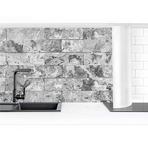 Bilderwelten Küchenrückwand Folie selbstklebend Steinwand Naturmarmor grau 60 x 400 cm Smart