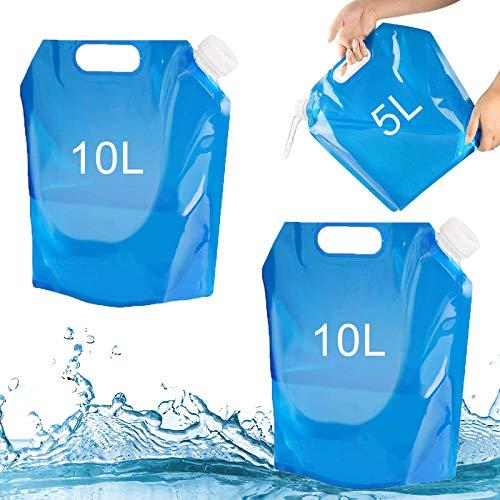 Tuofang 3Pack Recipiente de Agua Plegable, 5 L+ 2 x 10 L Bidón de Agua Plegable, Bolsa de Agua Plegable, Recipiente de Agua Potable Portátil, para Viaje, Acampar Senderismo Picnic BBQ
