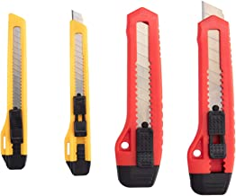 ORIENTOOLS Utility Knife Box Cutter Razor Auto-Lock 4-Pack Set, Retractable Box Cutter Snap Off Blades Knife, for Office, Home, Arts, Crafts, Red and Yellow
