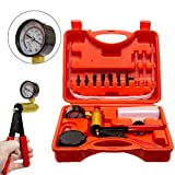 Somtton Hand Held Vacuum Pump Tester Set Vacuum Gauge & Brake Bleeder Kit Pressure Pump Kit for Automotive with Adapters