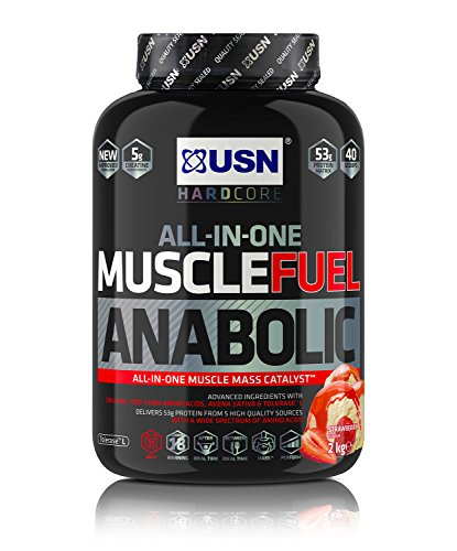 USN Muscle Fuel Anabolic Strawberry 2KG, Performance Boosting Muscle Gain Protein Shake Powder
