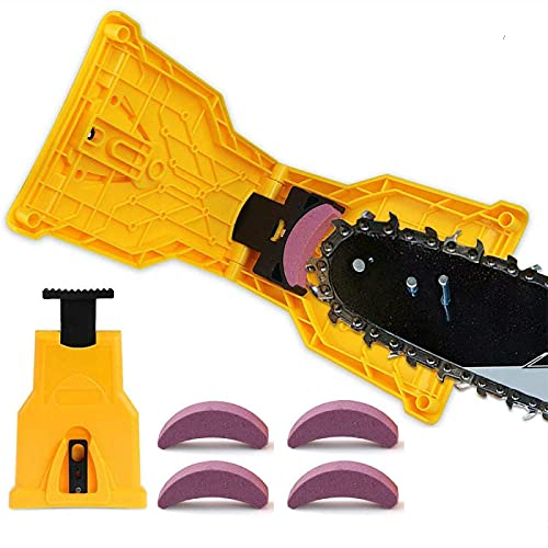 PMXZMYCY Chainsaw Sharpener,Portable Chain Saw Quick Sharpener,Electric Chain Saw Sharpener Tool Set,Suitable for 14/16/18/20 inch Two-Hole Chain Saw Blade (with 4 pcs Whetstones)