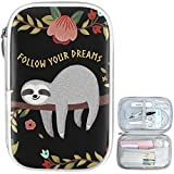 Oarencol Cute Animal Sloth Tree Flower Pencil Case Follow Your Dreams Zipper Pen Bag Large Capacity Cosmetic Pouch Stationery Box