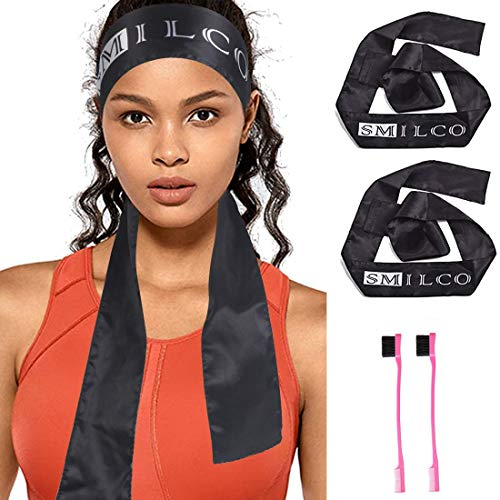Edge Scarf & 2 Pcs Edge Brush, Satin Edge Laying Scarf for Women Lace Frontal Wigs, Edge Control Brush for Baby Natural Hair, Edge Wrap for Wigs (2Pcs Black)