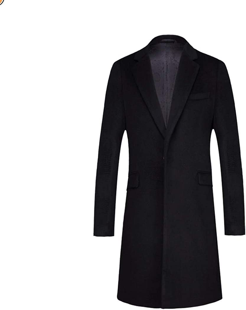 Men's Wool Blend Pea Coat Single Breasted Notched Lapel Slim Fit Black Trench Jacket Mid-length