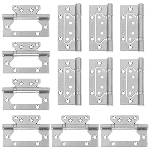 LANIAKEA Door Hinges 4x3 Inch Gatehouse Door Hinges Heavy Duty 12 Pack Stainless Steel Non-Mortise Hinges with Mounting Screws