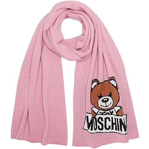 Moschino gebreide sjaal met beerlogo, roze, ca. 160 x 30 cm.