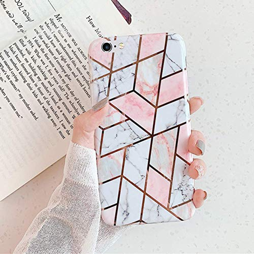 Uposao Custodia Compatibile con iPhone 6S Plus Marmo TPU Silicone Case Cover Morbido Flessibile Gel Copertura Ultra Sottile Leggera Design Marmo Caso Antiurto Marble Bumper,Marble Bianco Oro