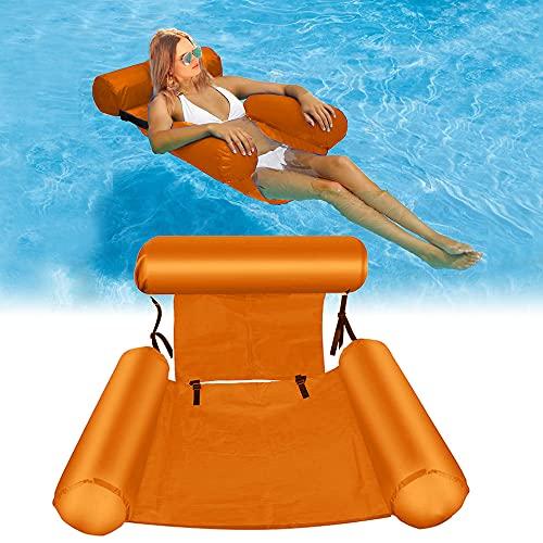 DEEPOW Hamaca plegable para agua, cama hinchable para piscina con respaldo, silla...