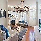 Samger Samger Luxueux Lustre à 8 bras Verre cristal K5 Couleur Cognac Argent Plafonnier Lampe suspension pour Salon Chambre Couloir Entrée