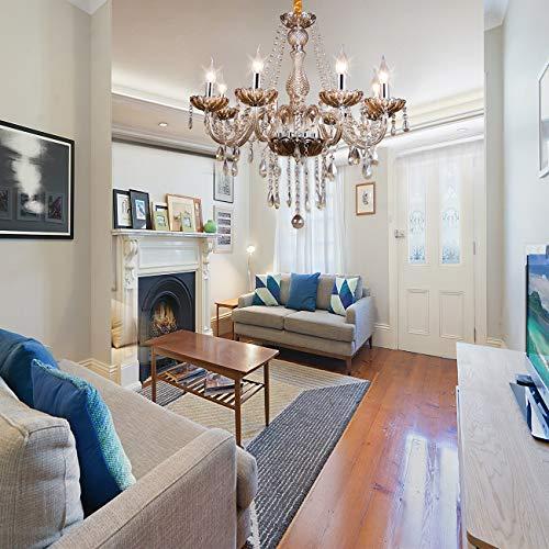 Samger Samger Luxuriös 8 Arm Kronleuchter K5 Kristallglas Silber Cognac Farbe Deckenleuchte Anhänger Lampe zum Wohnzimmer Schlafzimmer Flureingang