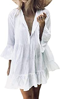 AmyGline Oberteil Damen Strandkleid Pom Pom Trim Quaste Spitze Strandponcho Badeanzug Bikini Cover Up Bluse Tunika Pareo Sommerkleid