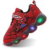 Szsppinnshp Kids Spiderman LED Light Up Shoes Baby Boys Girls Breathable Fashion Flashing Sneaker Athletic Running Shoe Toddler First Walking Sneaker Red