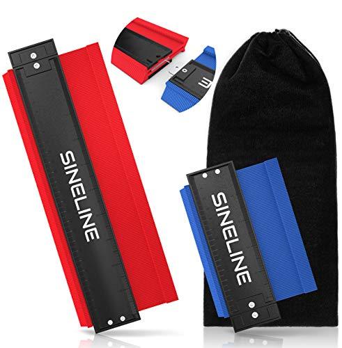 SINELINE - Konturenlehre - zum Verbinden - 130/258/388mm - für Laminat - inkl. Schutztasche - Konturenlehre groß - 3 in Einem - Konturmessgerät (Rot/Blau)