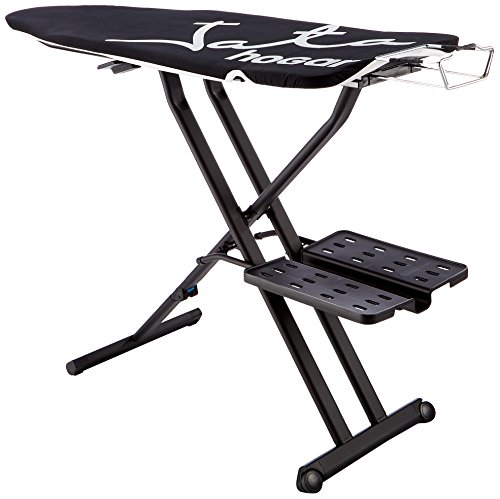 Jata Hogar XL Optima Pro strijkplank in hoogte verstelbaar en inklapbaar, metaal, zwart, 118 x 47 x 15 cm