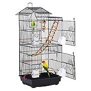 【Un doux foyer pour les petits oiseaux】 Mesurant L 46 x L 35,5 x H 99 cm avec un espacement des barreaux de 1,3cm, cette cage est spacieuse et sûre pour les petits oiseaux. 【Facile à Nettoyage】Le plateau coulissant et la grille à mailles détachables ...