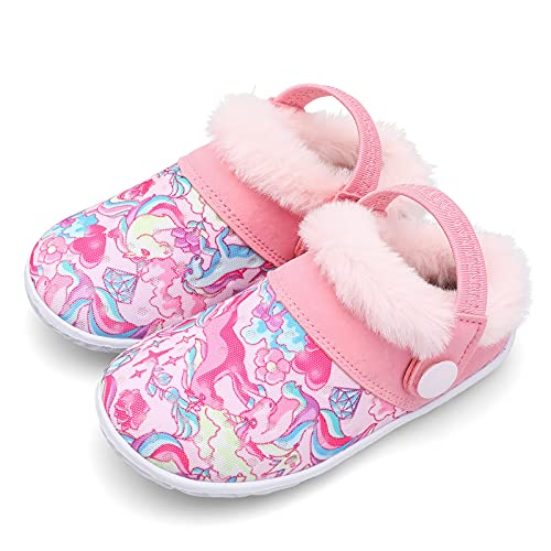 JINKUNL Zapatillas de invierno para niños y niñas, para bebés, mullidas y cálidas, para el hogar, antideslizantes y transpirables, Pinkunicorn, 31 EU
