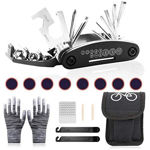 Sunshine smile Fahrrad-Multitool multifunktionswerkzeug,fahrradwerkzeug Tool,Bike Repair kit,Fahrrad Werkzeug mit Tasche,fahrradwerkzeug für unterwegs,Fahrrad Reparatur Set