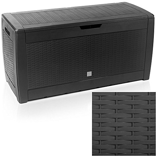 EAZYGOODS Extra Large Capacity Plastic Garden Storage Box Chest Container, Weatherproof with Durable & Lockable Sit On Lid 310 L (Rattan Design, Black (rattan))