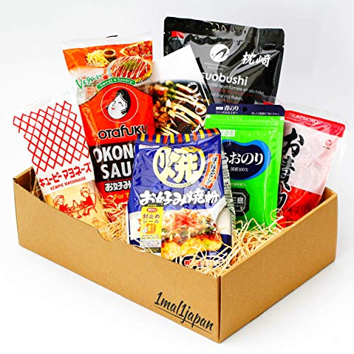 Okonomiyaki Kochset für japanische Pfannkuchen (für 10 Portionen, 6-teiliges Set, inkl. Anleitung), Geschenkidee