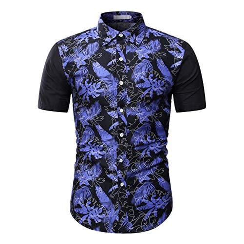 Hemden Herren Kurzarm Shirt Casual Hemdjacke Loose Shirt-Jacke Tropical Print Patchwork Freizeithemd Button Down T-Shirt Top, Marine, XX-Large