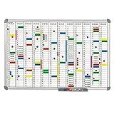 Maul Jahresplaner 90 x 60 cm, Whiteboard 12 Monate, Wochentageinteilung, Magnetisch, Alu-Rahmen 6496484