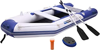 PEXMOR 7.5/10FT Inflatable Dinghy Boat 0.9mm PVC Sport Tender Fishing Raft Dinghy with Trolling Motor Transom, Full Floor and Fishing Rod Holders (Blue White/Black Grey)