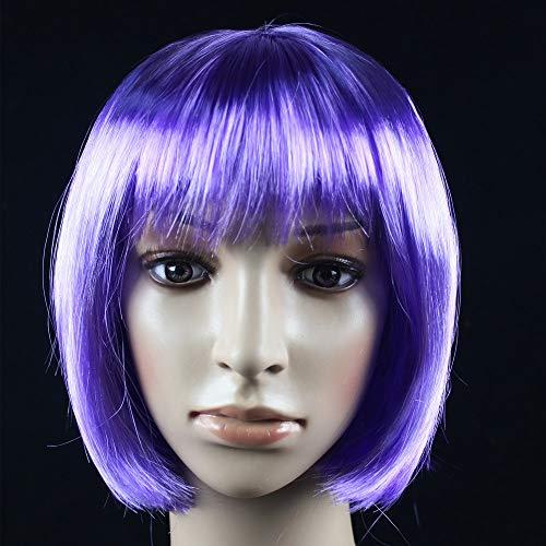 JKL African Female wig Short Hair wig Black Hair wig Small Volume Explosion Headgear European and American Hot wig Set (Color : Purple)