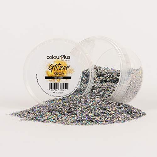 colourPlus Glitzer grob (Holo-Silber) Glitter-Zusatz zum Veredeln von Wandfarben auf Wasserbasis oder zum Basteln, Made in Germany