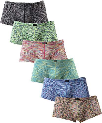 iKingsky Men's Stretch Boxer Briefs Underwear Sexy Low Rise Men Pouch Boxer Shorts (Medium, 6 Pack)