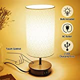 3-Way Touch Control Dimmable Table Lamp Modern Bedside Nightstand Lamps, with 2 USB Charging Ports, Fabric Round Lampshade, 100W Equivalent Vintage LED Bulb Included, Round Lampshade for Bedroom Livin