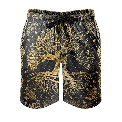 kikomia Yggdrasil Vegvisir - Pantalones cortos de playa para hombre, diseño vikingo con árbol de la vida, forro de malla, color blanco, talla 3XL