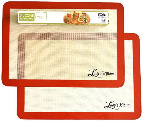 Baking Sheet Liners, 2-Pc Set by Ludy's Kitchen - Replaces Baking Papers - Commercial Grade Silicone Baking Mats - Non Stick, Durable, Reusable Oven Pan Liners - Great Gift Ideas