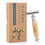Maquinilla de Afeitar Clásica - Mango de Bambú Natural - Plata - RISANA