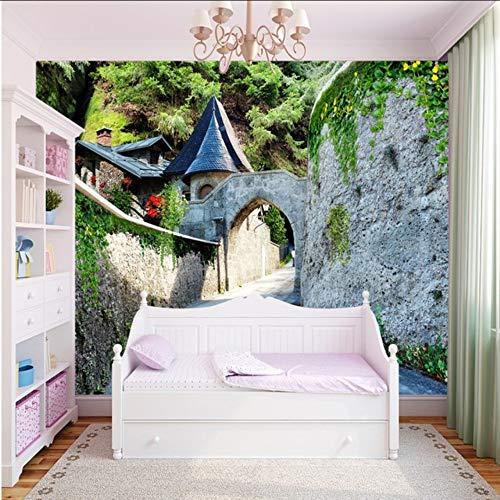 Wuyyii Aangepaste foto Wallpaper Europese Stijl Mooie Kasteel Poort Landschap Wallpaper Woonkamer Hotel Aangepaste Mural Wallpaper 200x140cm