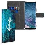 kwmobile Wallet Hülle kompatibel mit Sony Xperia 10 II - Hülle Kunstleder mit Kartenfächern Stand Anker Landkarte Weiß Blau
