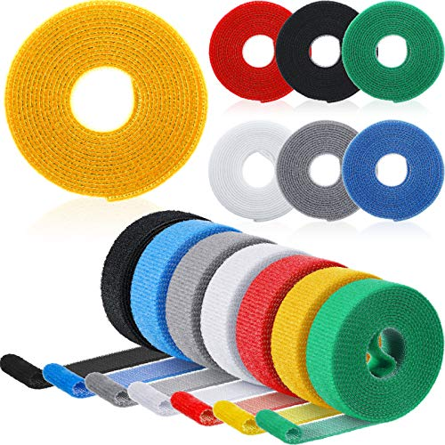 14 Roll Reusable Cable Straps Hook and Loop Cable Tie Roll Nylon Fastening Tape Wire Organizer for Cords Cable Management (Green, Blue, Yellow, Gray, Black, White, Red)