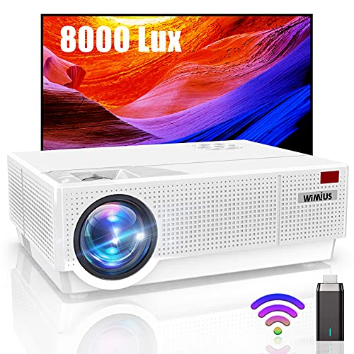 "Proyector, WiMiUS 8000 Lúmenes Proyector WiFi Full HD 1920x1080P Proyector Cine en Casa Soporte 4K Contraste 10000: 1 Ajuste Digital 4D Pantalla 300"" Proyector LED para PS4/TV Stick HDMI VGA AV USB"